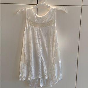 White sleeveless workout top